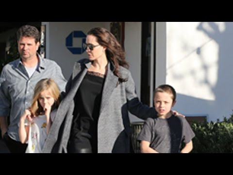 Angelina Jolie Takes The Twins Shopping In Malibu