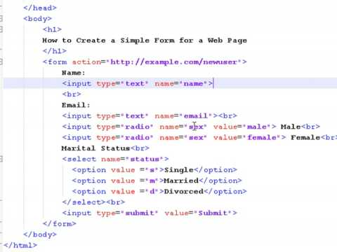 How to Create Web Pages Using HTML : How to Create a Simple Form for a Web Page