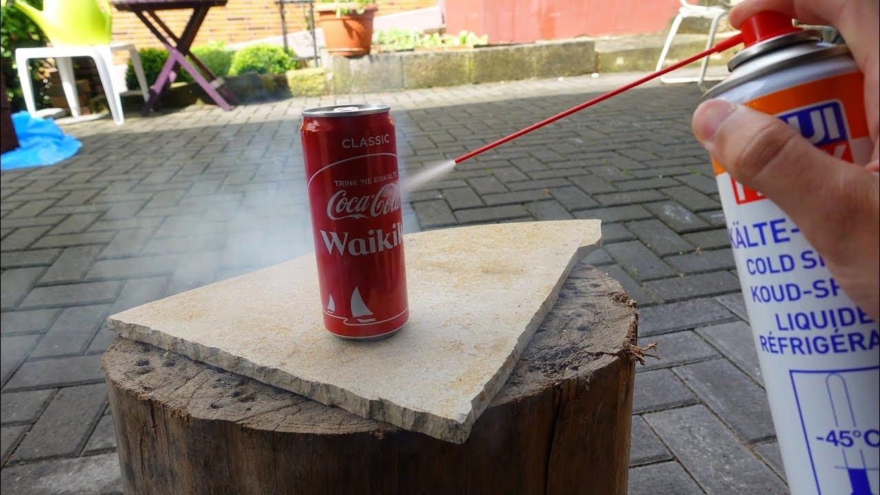 experiment kann man mit eis spray eine cola dose einfrieren youtube. Black Bedroom Furniture Sets. Home Design Ideas