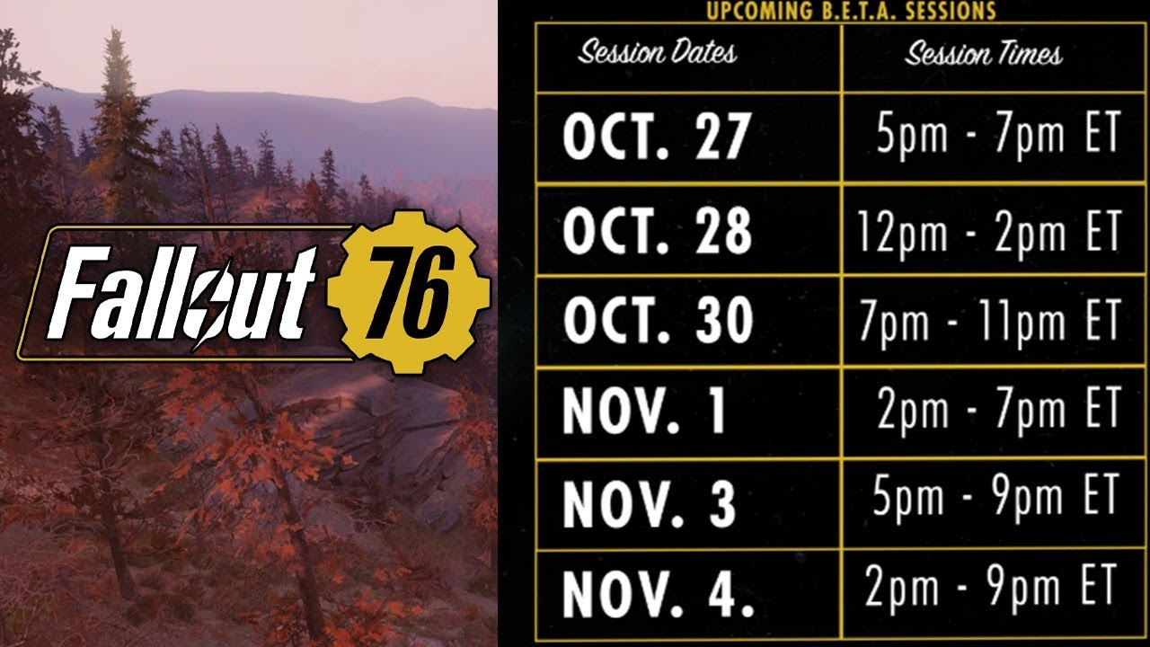 Fallout 76 Full Beta Schedule Revealed \u0026 Allows 20-28 Hours Of Play