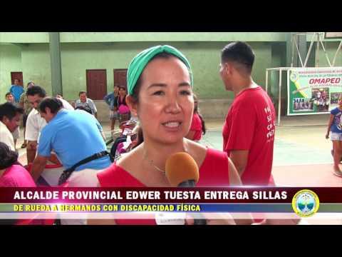 ALCALDE PROVINCIAL EDWER TUESTA ENTREGA SILLAS DE RUEDA A HERMANOS CON DISCAPACIDAD FÍSICA