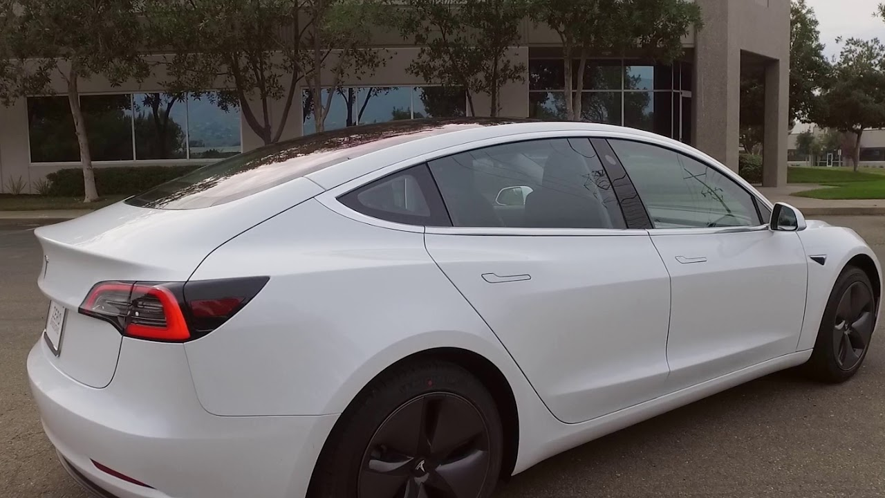 White Tesla Model 3 Delivery