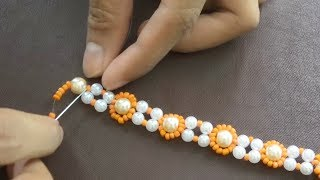 diy jewelry making tutorial: super easy peal beads necklace,bracelet making idea part #1