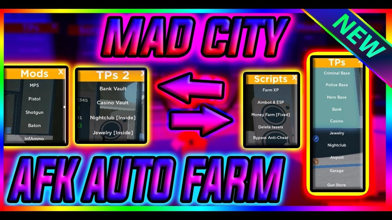 NEW SCRIPT MAD CITY GUI, DUNGEON QUEST, RO-GHOUL, JAILBREAK, ANY GAME PASS  FOR FREE, AUTO ROB MONEY