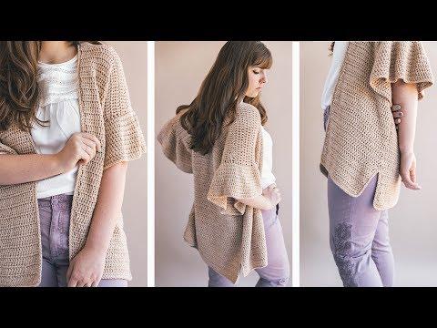 Crochet Ruffle Sleeve Cardigan
