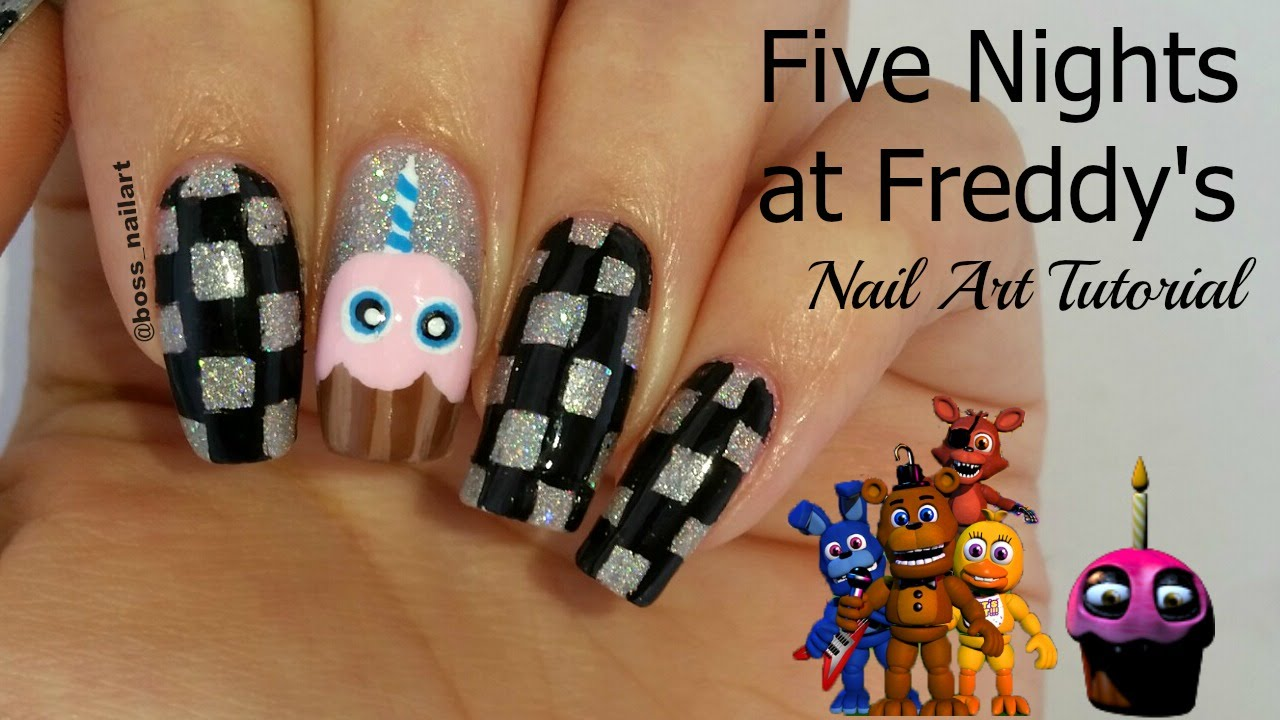 Five Nights At Freddys Nail Art Checkerboard Nails Gaming Nail