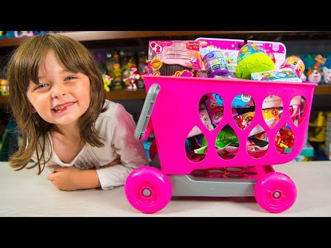 HUGE Shopping Cart Toy filled with Surprises Toys for Girls Surprise Eggs Blind Bags Kinder Playtime