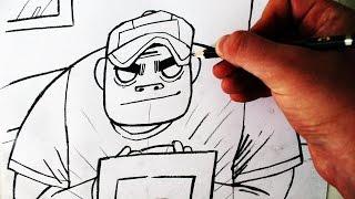 Como Desenhar Russel Hobbs [Gorillaz Drums] - (How to Draw Russel) - SLAY DESENHOS #182