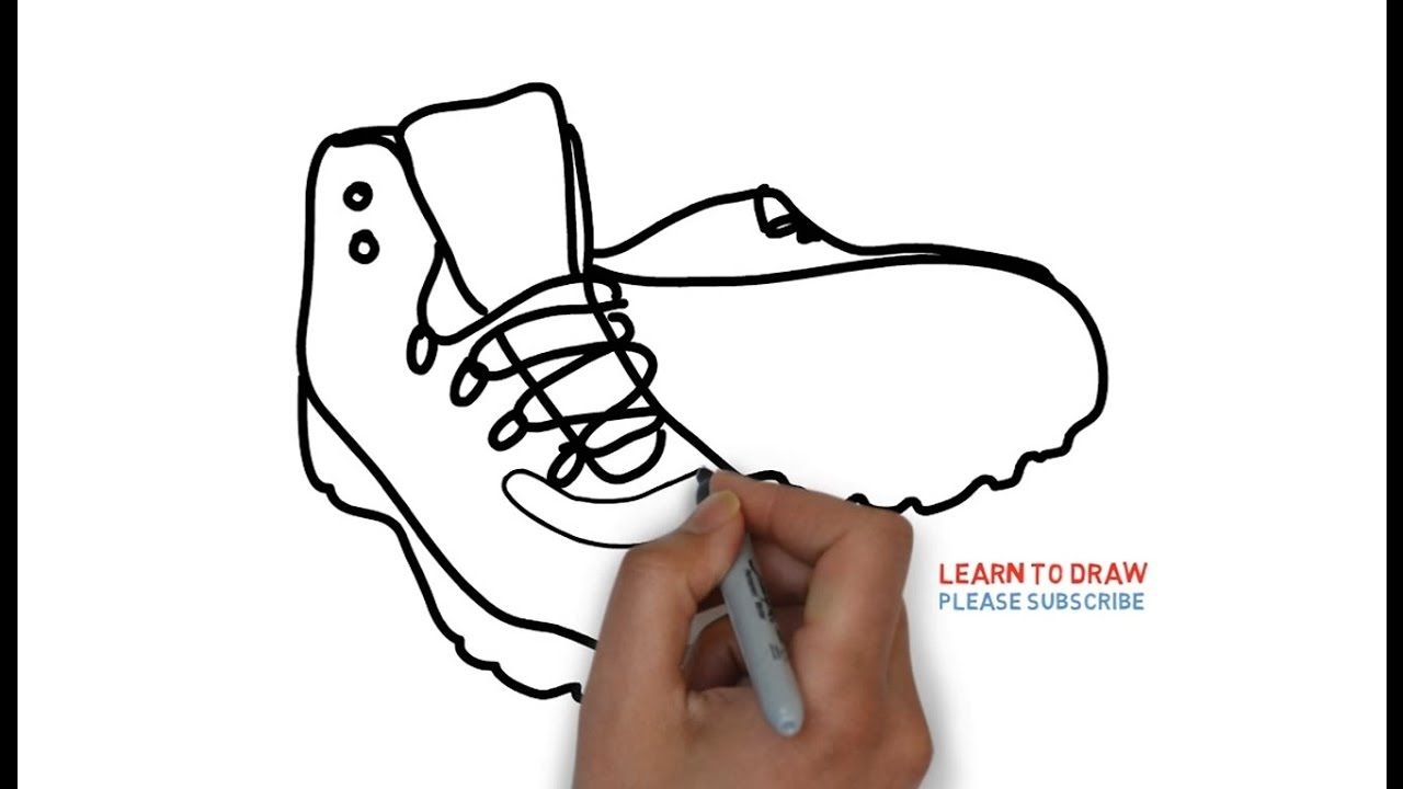Easy Step For Kids How To Draw A Mountaineering Boots Youtube