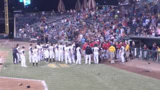 Jacksonville Suns - Birmingham Barons brawl / manager ejected -- 7/25/14