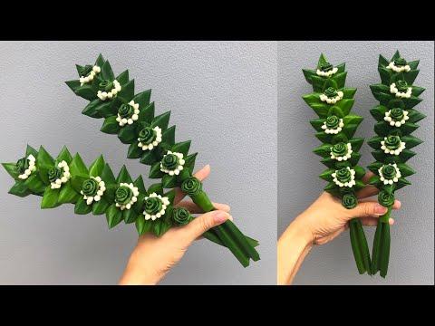 พับใบเตยดอกกุหลาบ ล้อมพุด   DIY Pandan Leaves 🌸🍀   MeeDee DIY