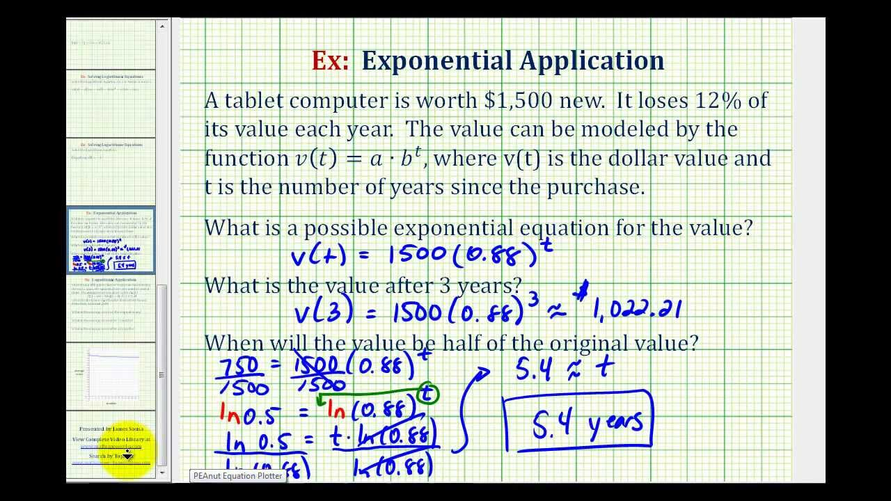 how to find the initial value of an exponential function