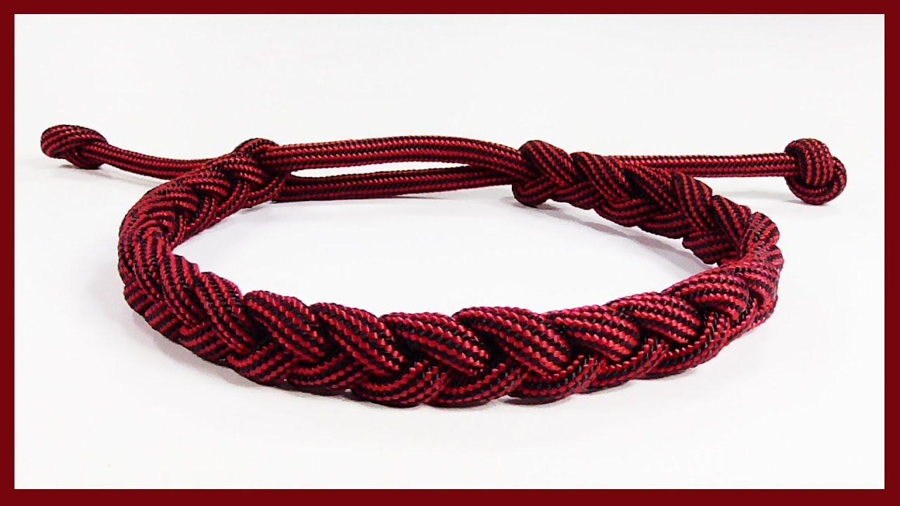 Easiest Adjustable One Strand Braided Paracord Bracelet Rastaclat Style
