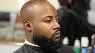 Bald fade with faded beard (beardwork)