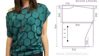 Tutorial paso a paso para una blusa casual muy bonita y súper fácil de hacer. Es unitalla y se adapta a diferentes tipos de cuerpo. En nuesto sitio web o redes ...