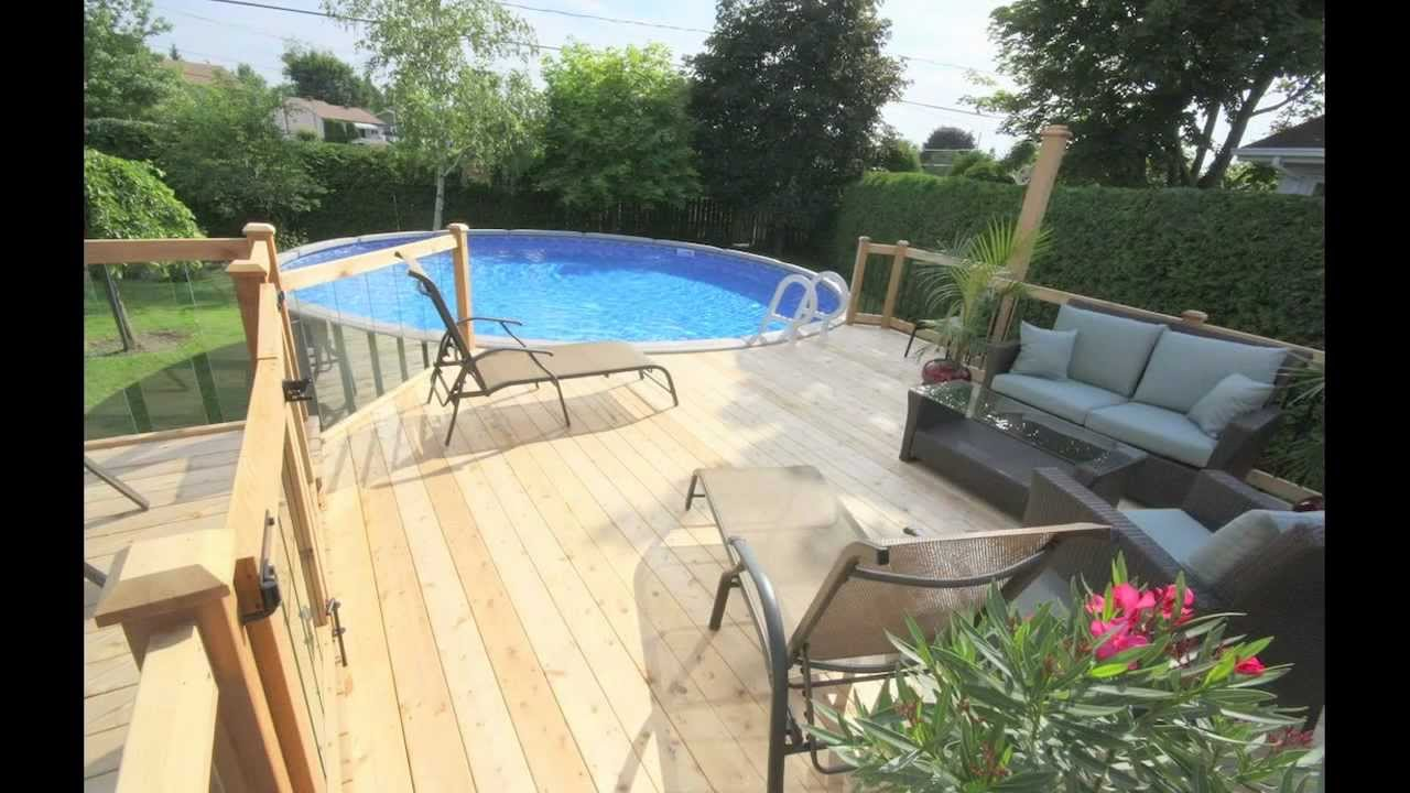 Patio avec piscine larose par patios et cl tures beaulieu for Plan pour deck de piscine
