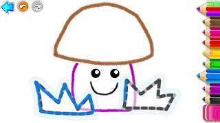 Учимся рисовать #4. Рисуем 🎨 растения, солнышко и тучку. Рисовалка для малышей. Learning to draw.