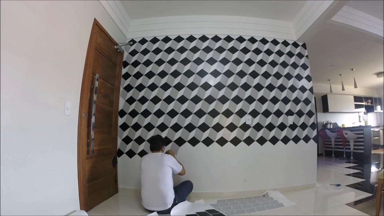 Efeito 3d com adesivos em uma parede de casa youtube for Pintura decorativa efeito marmore