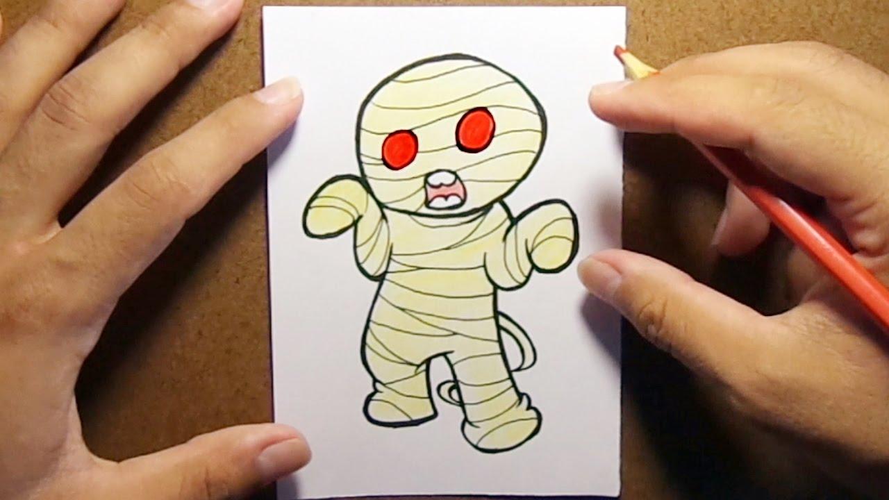 Como Desenhar E Pintar Mumia De Halloween Youtube