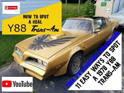 How To Identify A 1978 Y88 Trans-am