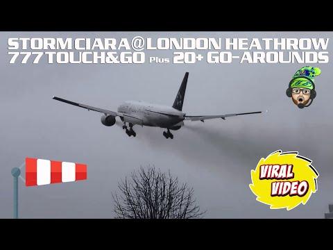 #StormCiara At London Heathrow - 20+ Go-Arounds And Crosswind Landings!!