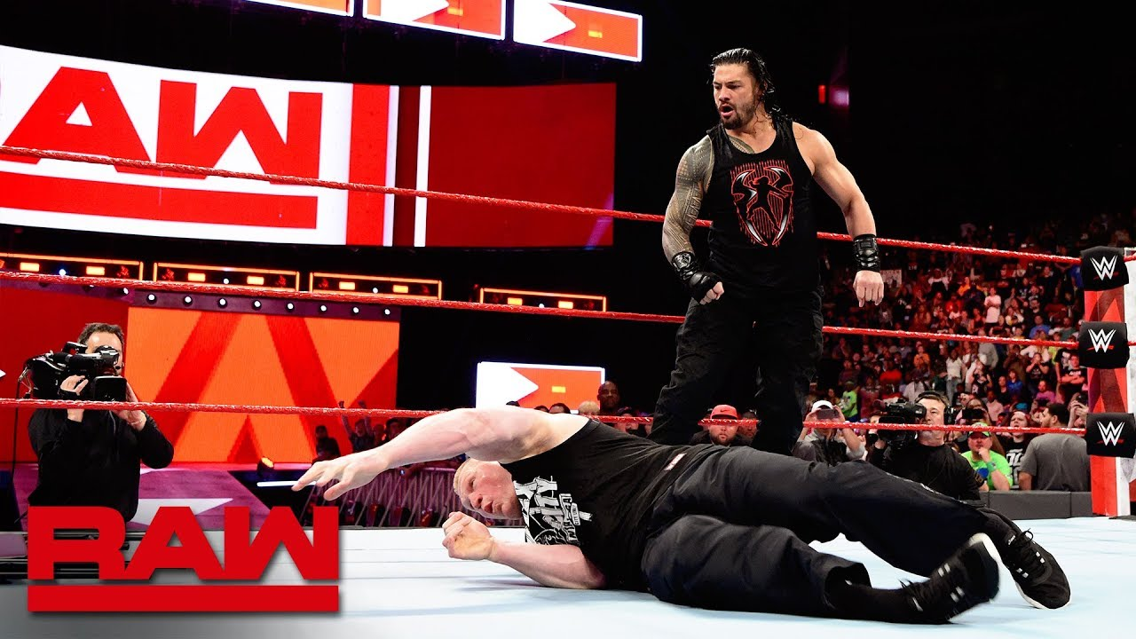 Download Roman Reigns unleashes on Brock Lesnar before WrestleMania: Raw, April 2, 2018