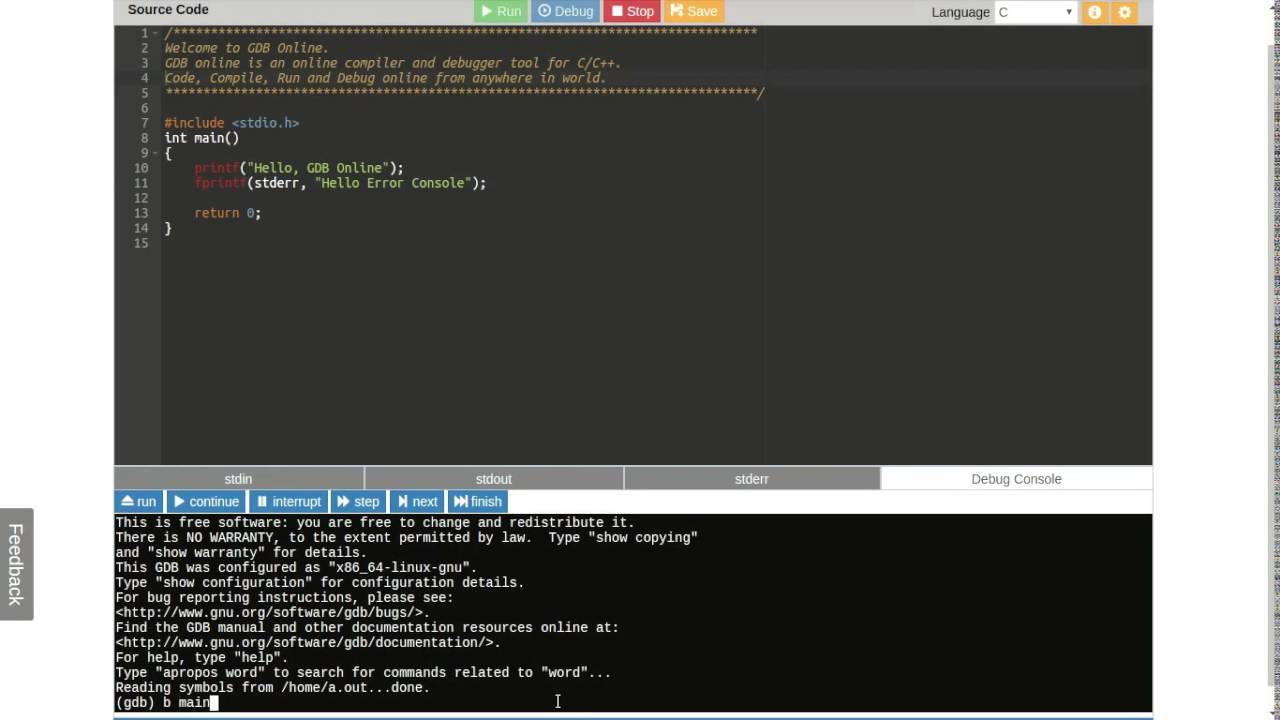 online compiler gdb