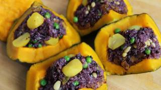 Sweet Pumpkin With Rice Stuffing (danhobakbap: 단호박밥)