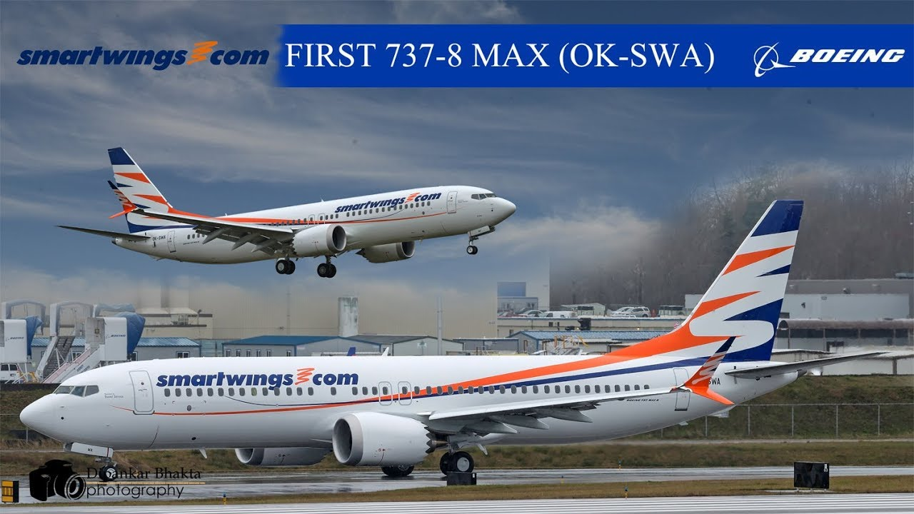 SmartWings FIRST Boeing 737-8 MAX (OK-SWA) Take off + high speed taxi +  closeup @ PAE