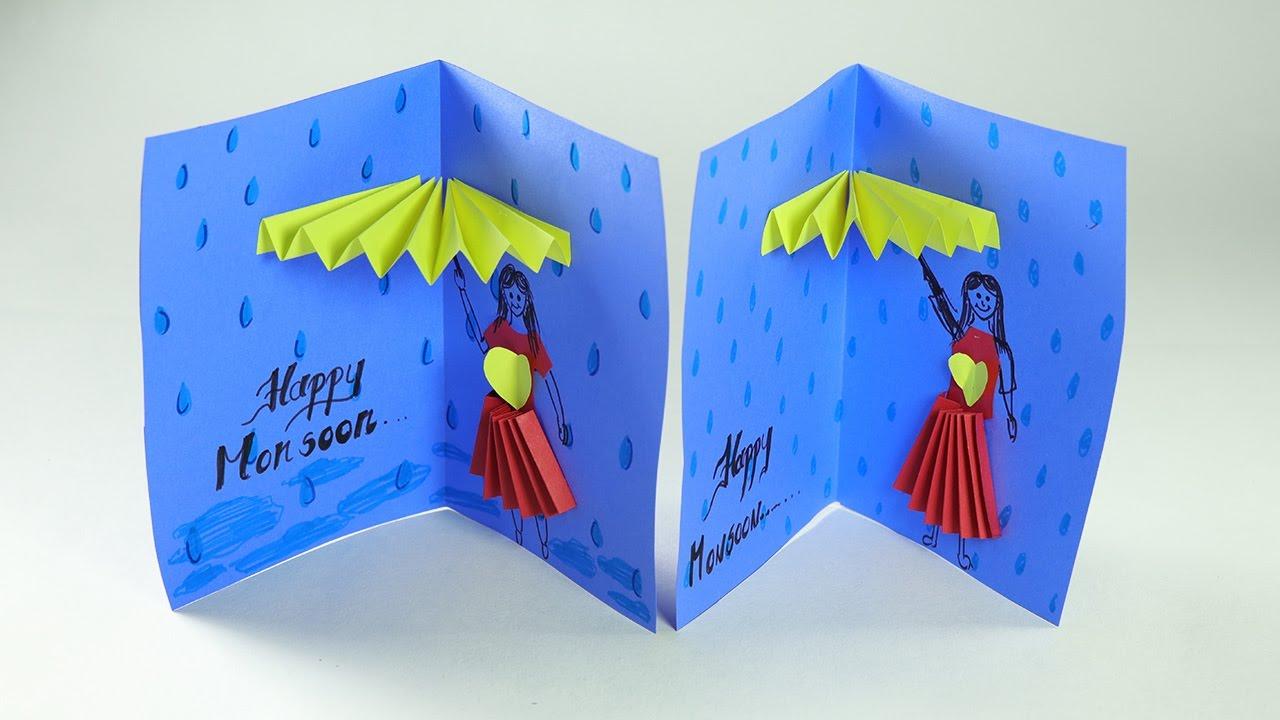 Handmade Greeting Card Rainy Day Card Happy Monsoon Youtube