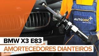 Como substituir a amortecedores dianteiros no BMW X3 E83 [TUTORIAL]