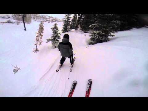 John Paino skiing around Bonanza lift, Park City, Feb 2014