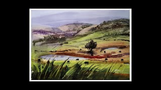 Learn to Paint a beautiful landscape: using a large brush and loyalty card? Easy method.