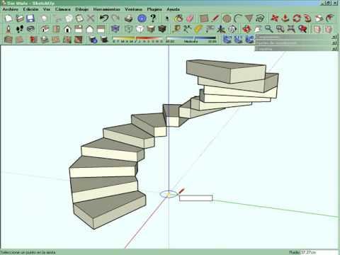 Escalera caracol sketchup youtube for Como hacer una escalera en caracol