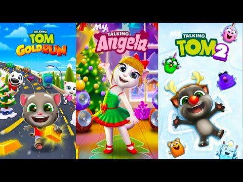 My Talking Angela VS My Talking Tom 2 VS My Talking Tom Gold Run 2020 Holiday Update Gameplay