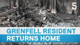 Grenfell survivor returns to flat for first time since fire