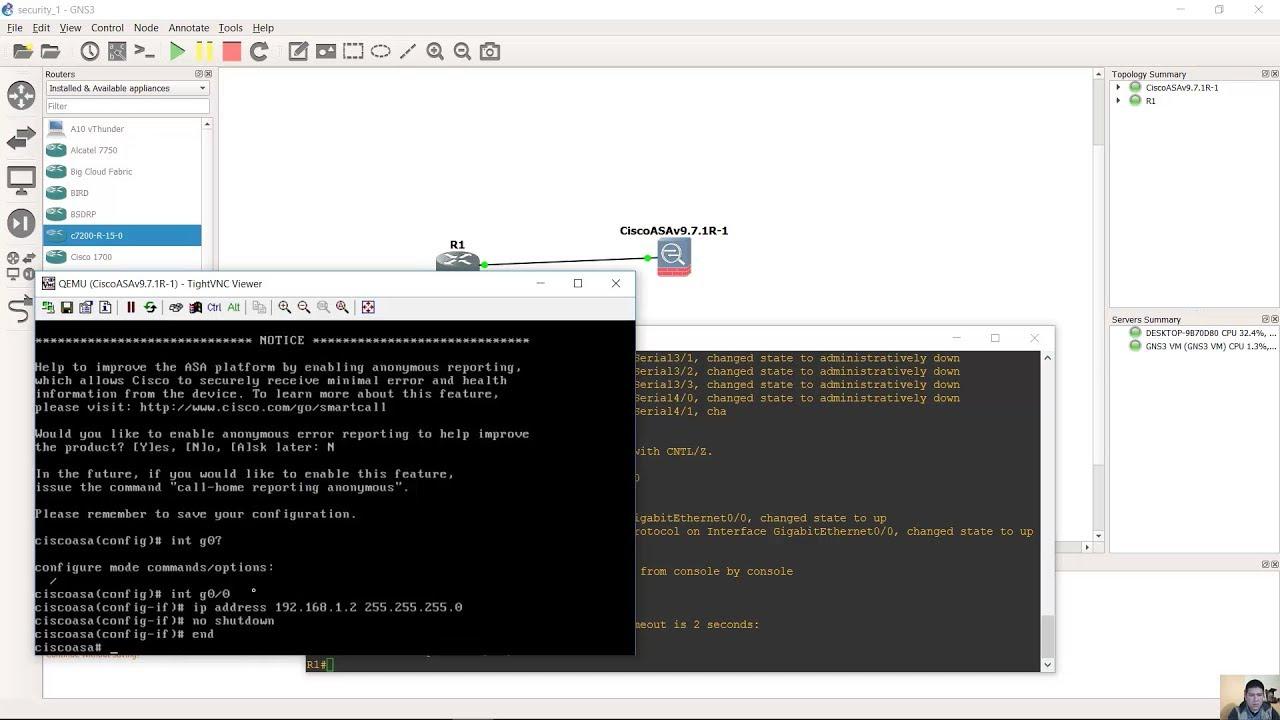 Setup ASAv 9 7 1 on GNS3 2 1 0 - VMWare Workstation - GNS3 VM