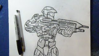 "Cómo dibujar a master chief ""Halo"" 