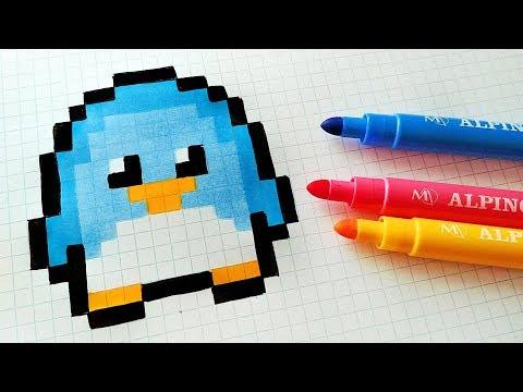 Handmade Pixel Art - How To Draw Kawaii Penguin #pixelart