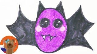 Урок рисования для детей | Кавайная летучая мышь в няшном японском стиле
