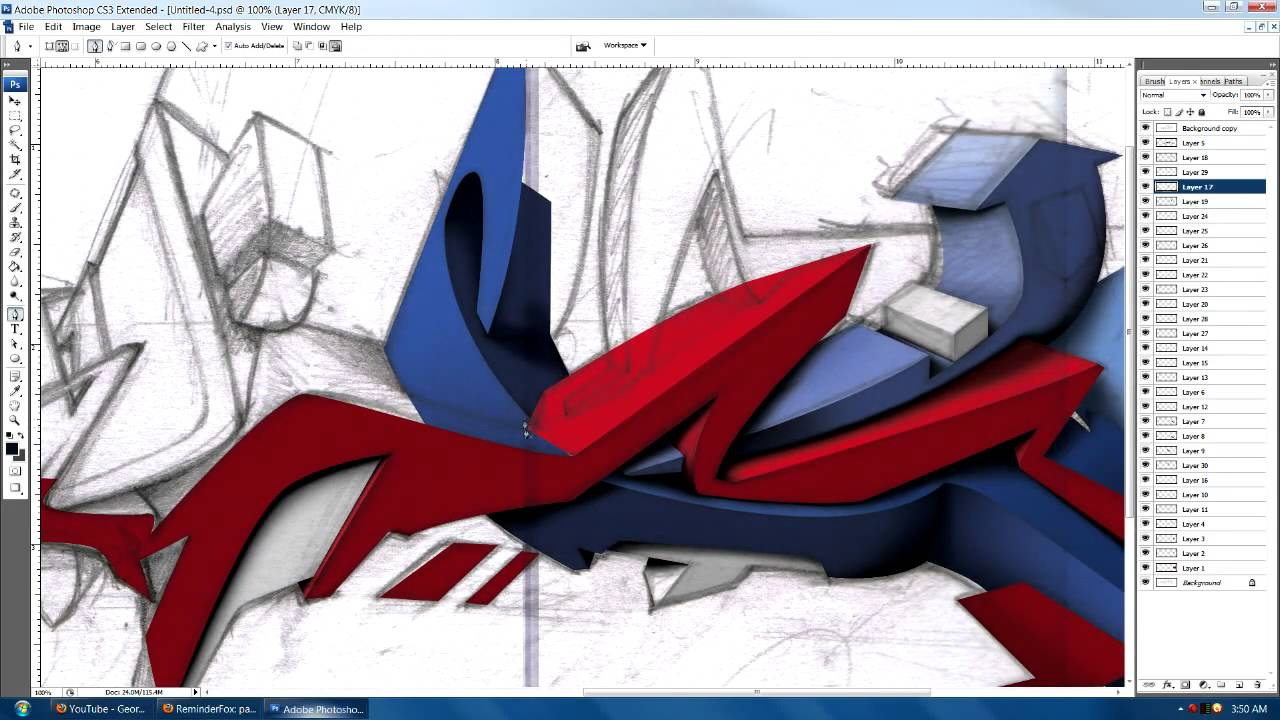 Graffiti art information -  Art Graffiti Piece In Photoshop Read Info For Drawing Details Youtube