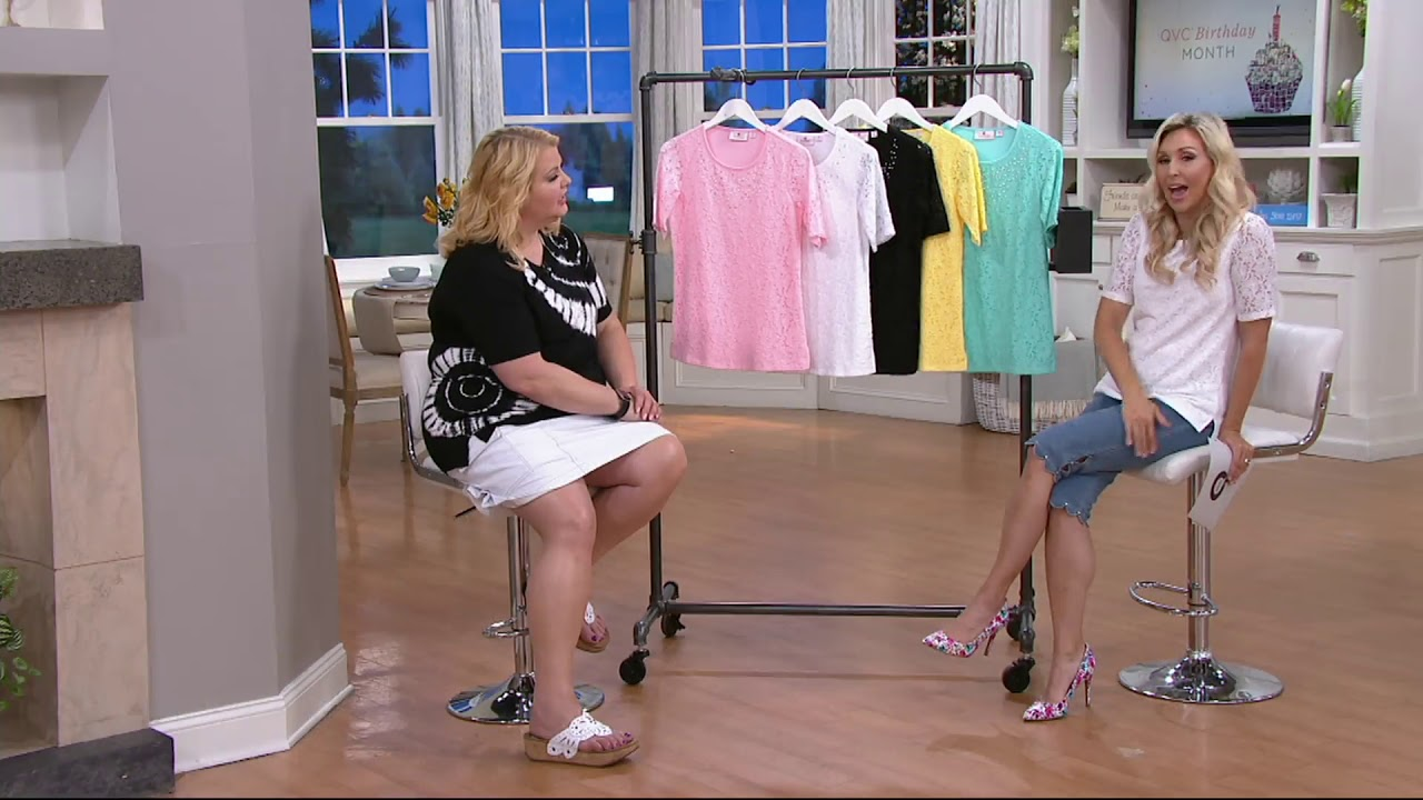 d3bfbaf8a462c Quacker Factory Lace Elbow Sleeve Top with Rhinestones on QVC - YouTube
