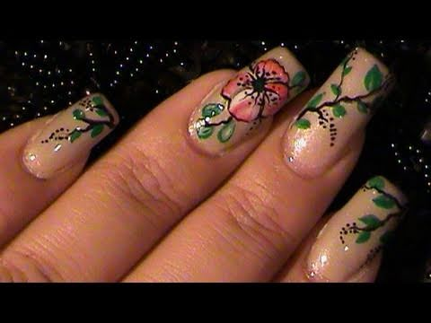 How To Paint a Red Mallow One Stroke Flower Nail Art ...