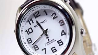 Produktvideo zu Sprechende Funk-Armbanduhr Lederarmband White