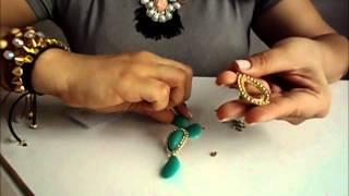 AnaGGabriela - Vídeo-aula 17 - Brinco gota turquesa de resina com strass