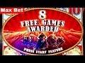 Buffalo STAMPEDE Slot Machine -Max Bet Bonus & TONS OF Retriggers   SUN WARRIOR Slot Machine BIG WIN