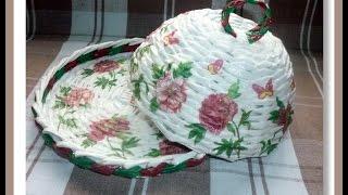 Декупаж салфеткой плетеных изделий / Decoupage napkin wickerwork