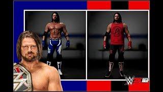 2K18 WWE: AJ Styles - Mavi ve Siyah/Kırmızı Giysileri ᴴᴰ