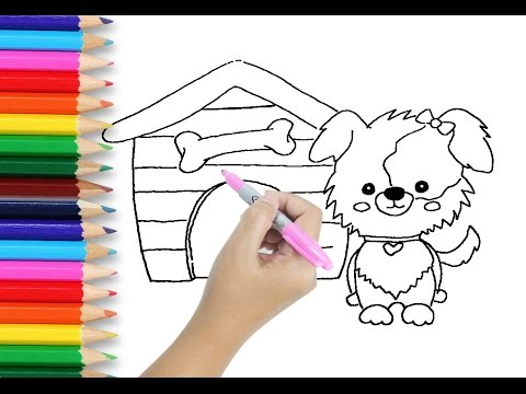 Drawing And Coloring Tutorial For Kids Learn How To Draw Dog Cute Puppy