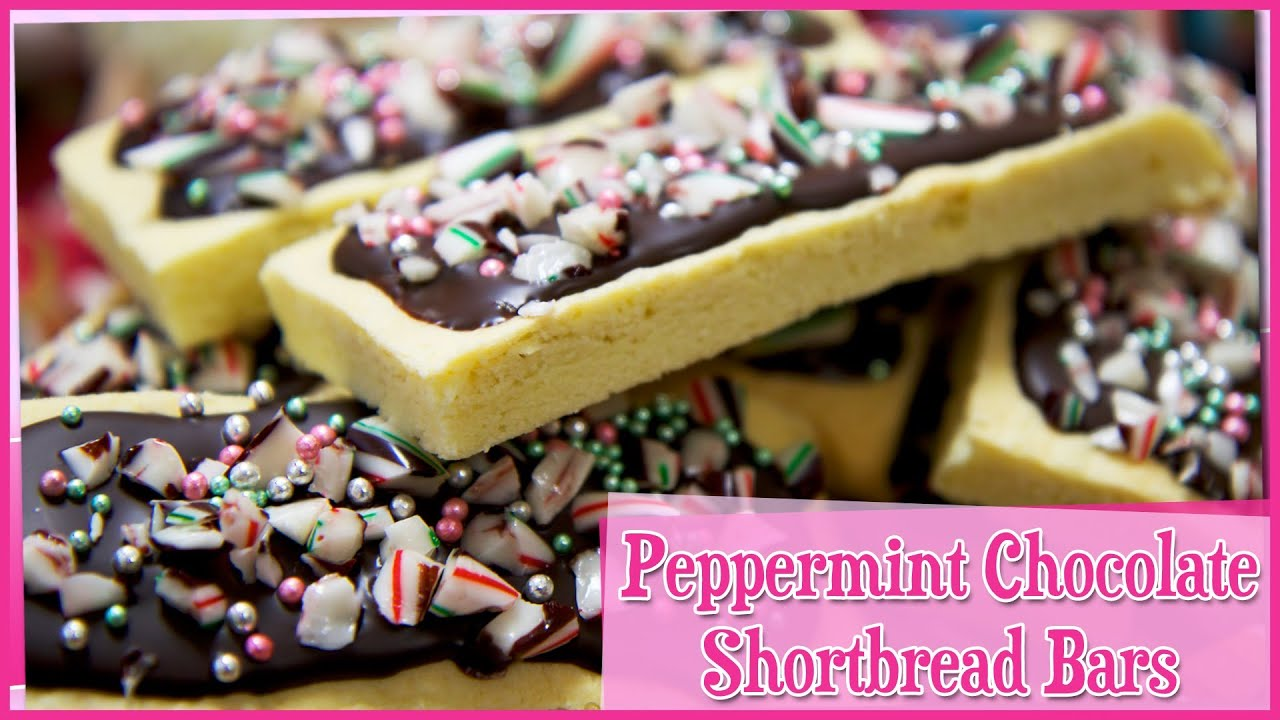 Peppermint Chocolate Shortbread Cookie Bar - YouTube